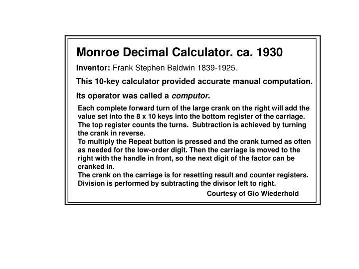 Monroe Decimal Calculator. ca. 1930