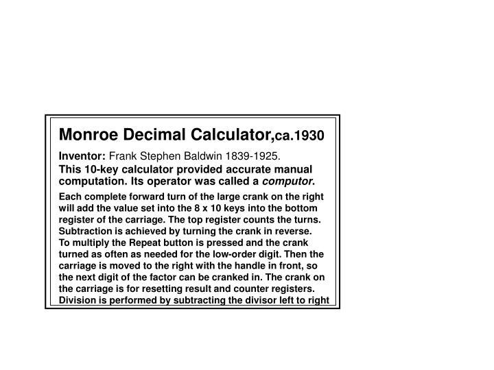 Monroe Decimal Calculator,