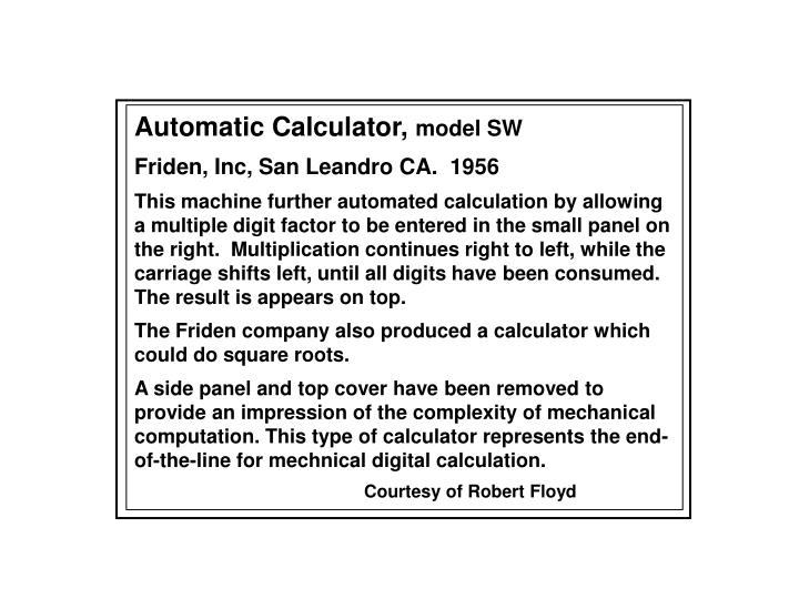 Automatic Calculator,