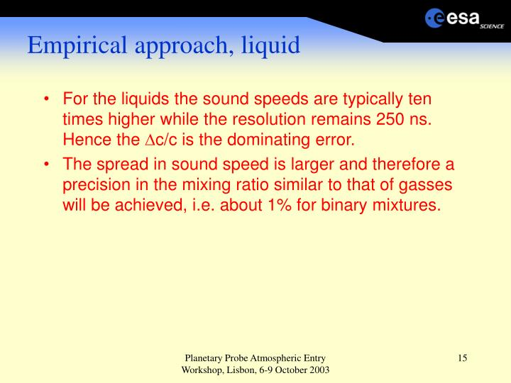 Empirical approach, liquid