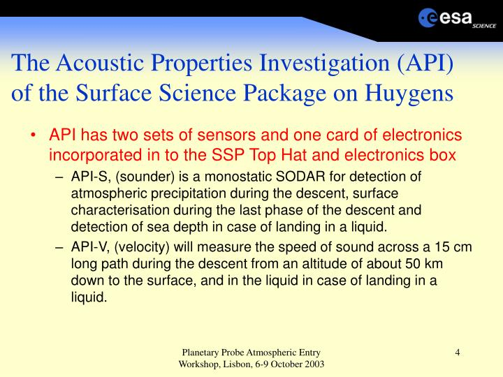 The Acoustic Properties Investigation (API)  of the Surface Science Package on Huygens