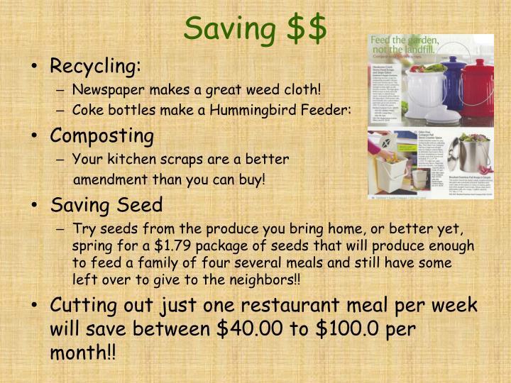 Saving $$