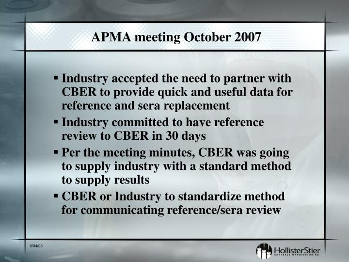APMA meeting October 2007