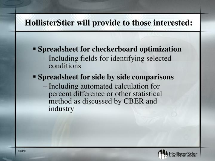HollisterStier will provide to those interested: