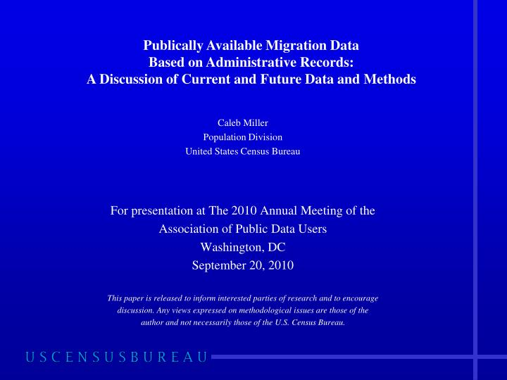 Publically Available Migration Data
