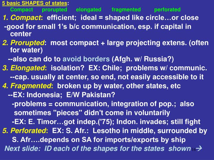 5 basic SHAPES of states