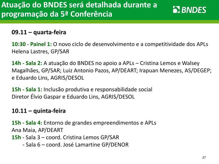 Atuação do BNDES será detalhada durante a programação da 5ª Conferência