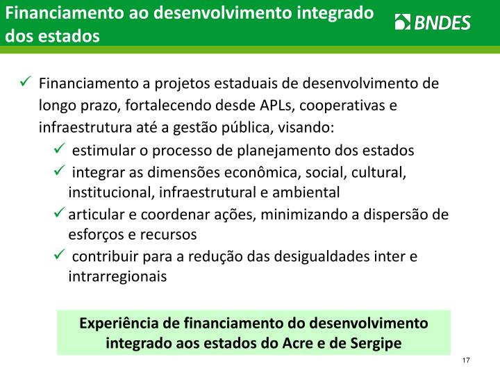 Financiamento ao desenvolvimento integrado dos estados