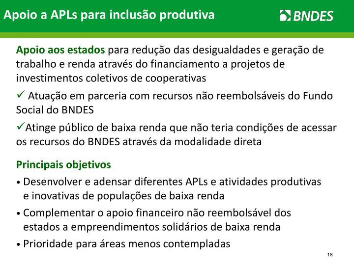 Apoio a APLs para inclusão produtiva