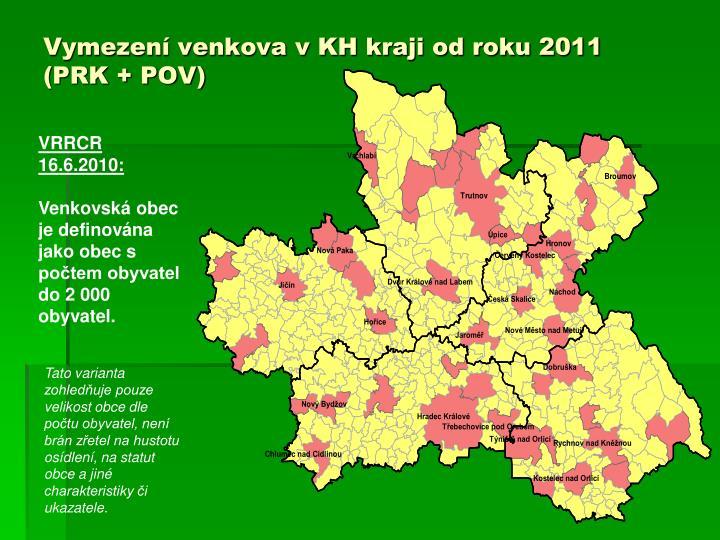 Vymezení venkova v KH kraji od roku 2011