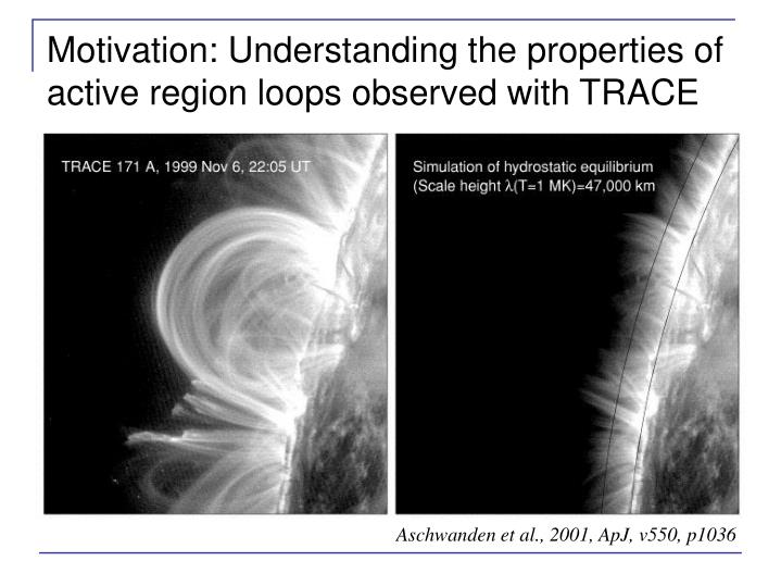Motivation: Understanding the properties of active region loops observed with TRACE