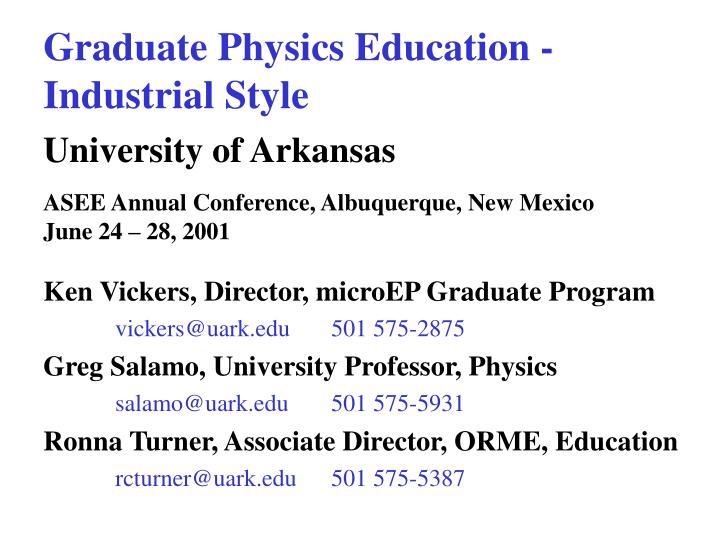 Graduate Physics Education -