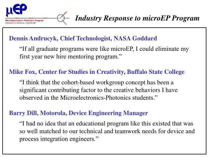 Industry Response to microEP Program