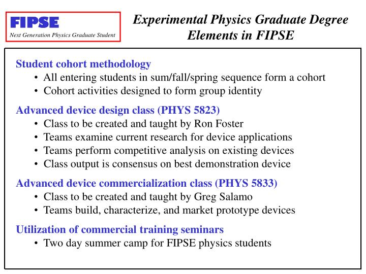Experimental Physics Graduate Degree Elements in FIPSE