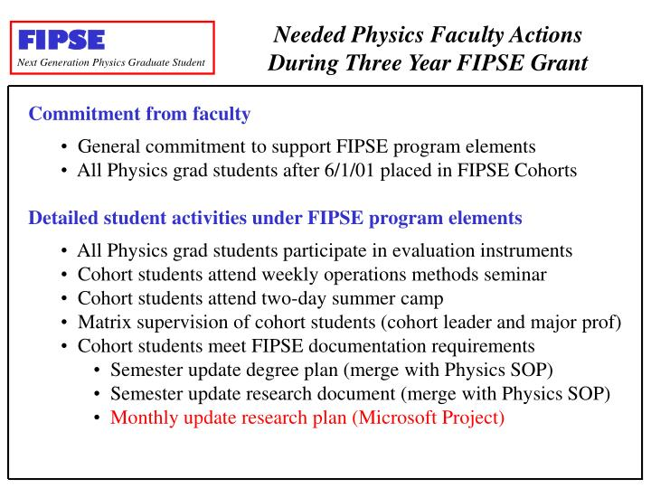 Needed Physics Faculty Actions