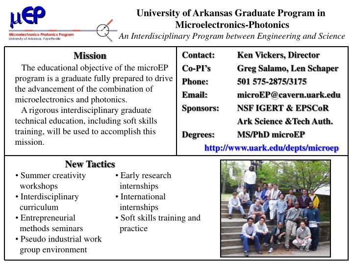 University of Arkansas Graduate Program in