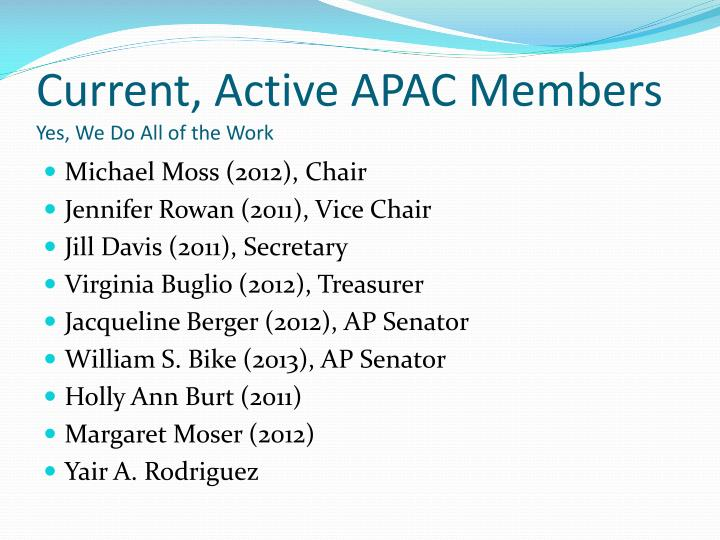 Current, Active APAC Members