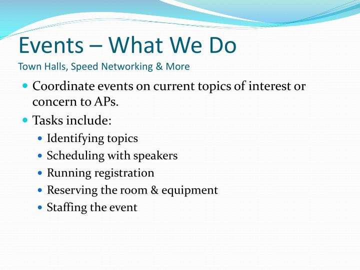 Events – What We Do