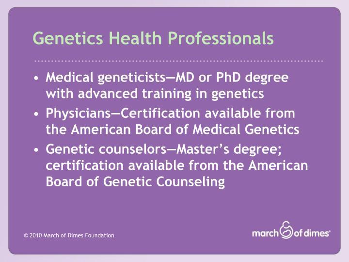 Genetics Health Professionals