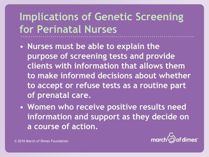 Implications of Genetic Screening for Perinatal Nurses