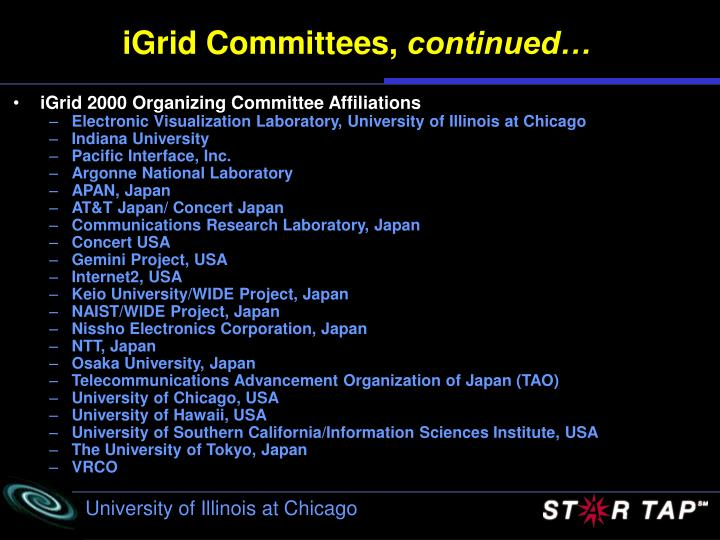 iGrid Committees,