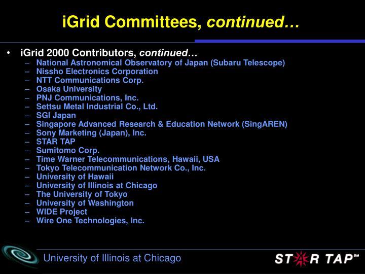 iGrid Committees,
