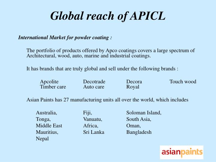 Global reach of APICL