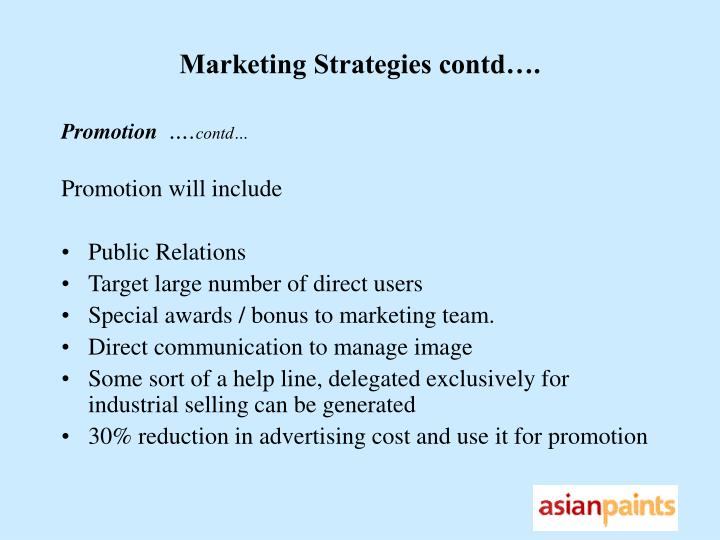Marketing Strategies contd….