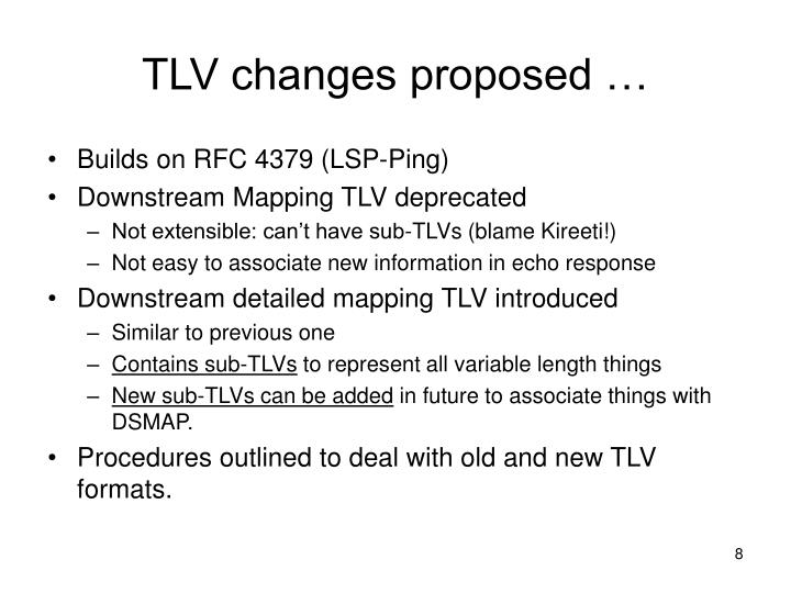 TLV changes proposed …