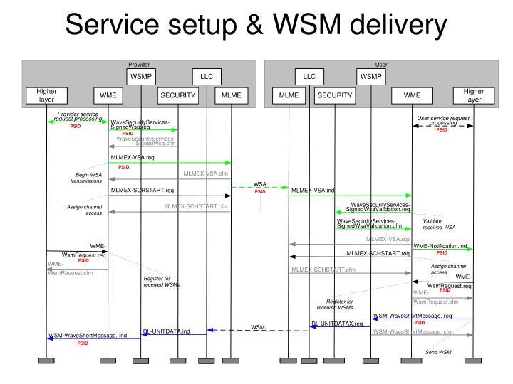Service setup & WSM delivery
