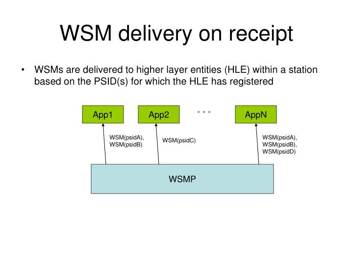 WSM delivery on receipt