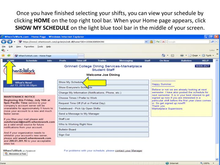 Once you have finished selecting your shifts, you can view your schedule by clicking