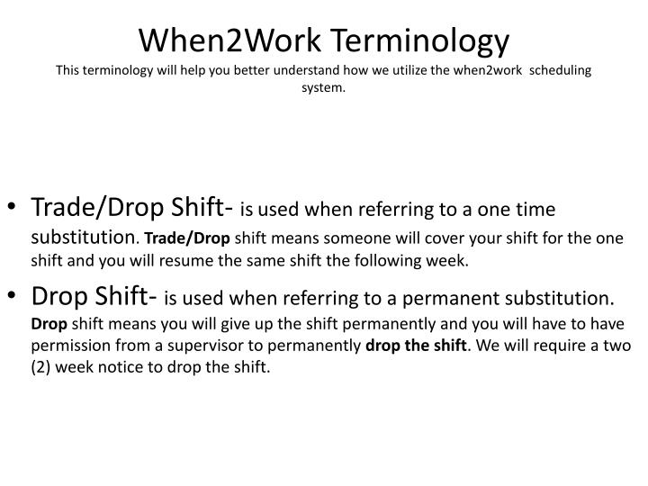 When2Work Terminology