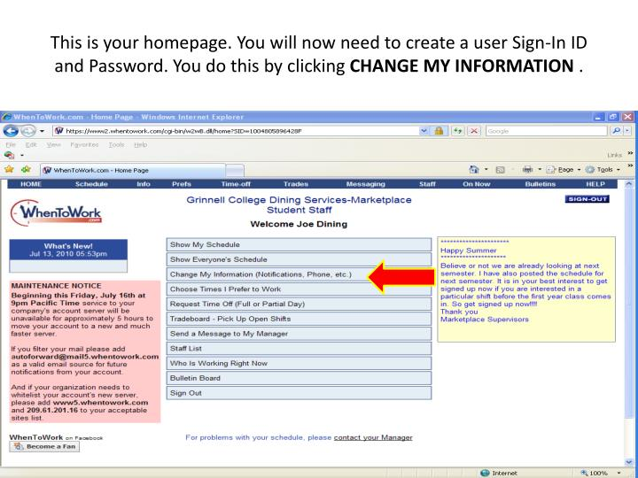 This is your homepage. You will now need to create a user Sign-In ID and Password. You do this by clicking