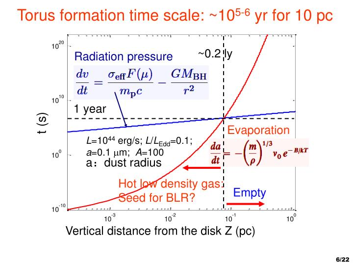 Torus formation time scale: ~10