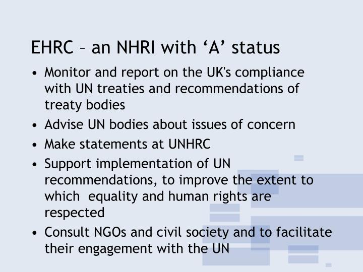EHRC – an NHRI with 'A' status
