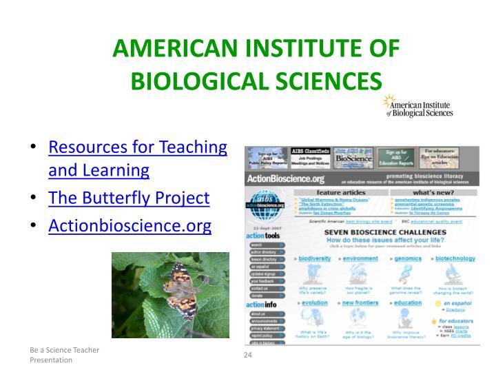 AMERICAN INSTITUTE OF BIOLOGICAL SCIENCES
