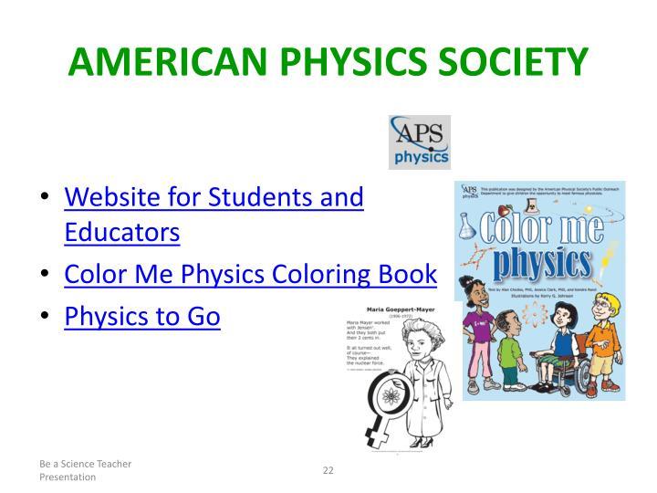 AMERICAN PHYSICS SOCIETY
