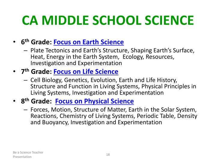 CA Middle School Science