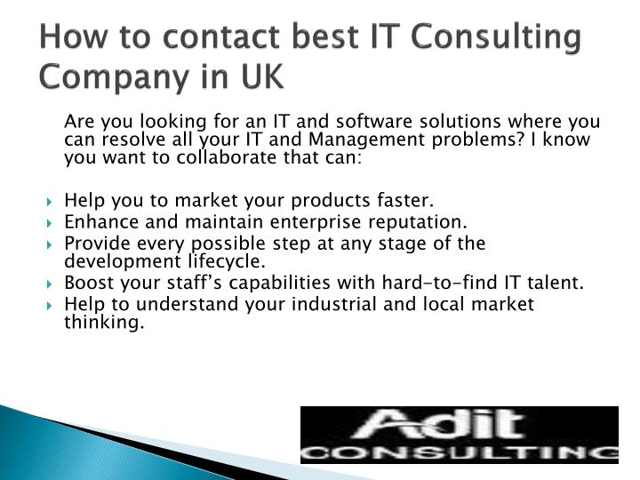 How to contact best IT Consulting Company in UK