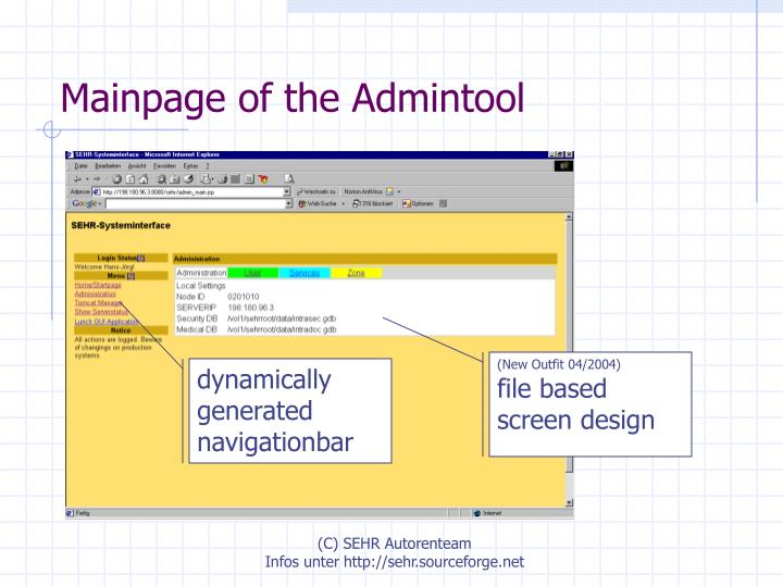 Mainpage of the Admintool