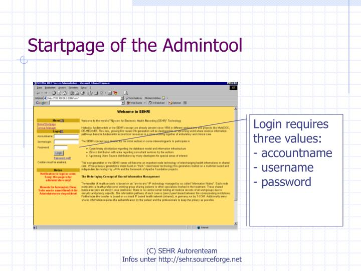 Startpage of the Admintool