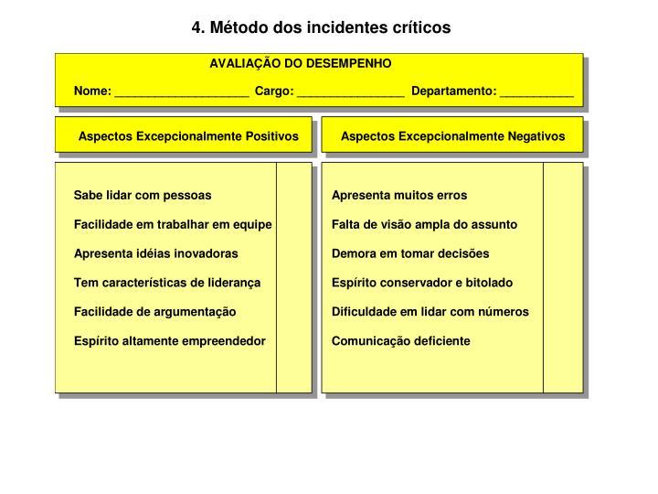 4. Método dos incidentes críticos