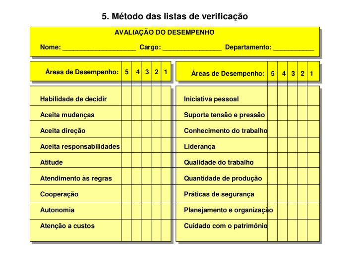 5. Método das listas de verificação