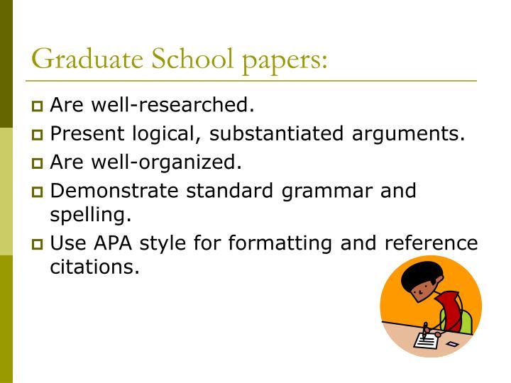 Graduate School papers: