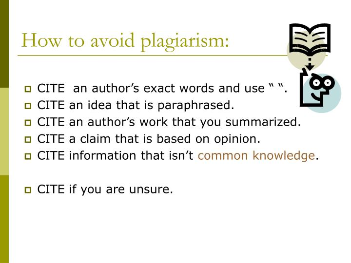 How to avoid plagiarism: