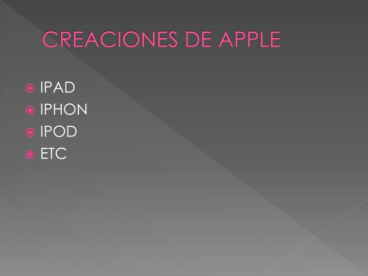 CREACIONES DE APPLE