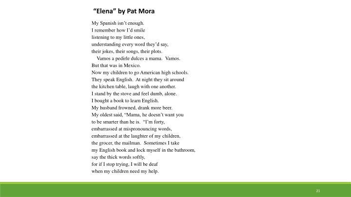 """""""Elena"""" by Pat Mora"""