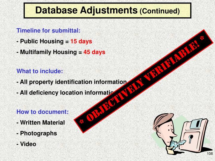 Database Adjustments