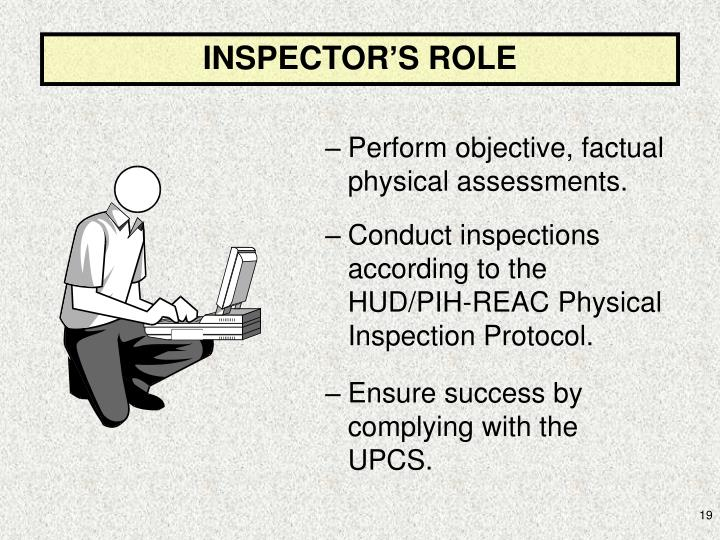 INSPECTOR'S ROLE